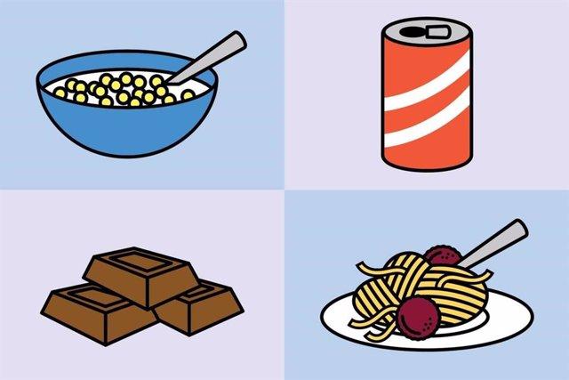 Ilustración de alimentos procesados: cereales, refrescos, chocolate y pasta.