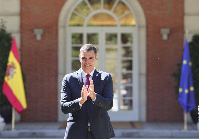 El presidente del Gobierno, Pedro Sánchez, durante la firma del Pacto por la Reactivación Económica y el Empleo con los líderes de la CEOE, Cepyme, CC.OO. y UGT, en el Palacio de la Moncloa, Madrid (España), a 3 de julio de 2020.