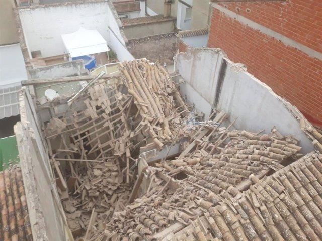 Hundimiento del techo de una vivienda en Riba-roja (Valencia)
