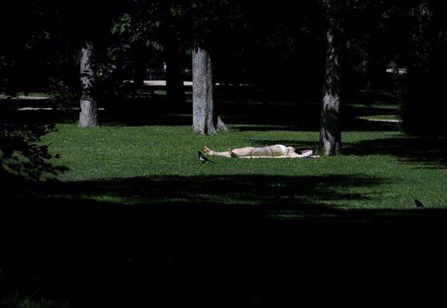 Una joven toma el sol en el césped en el Parque del Retiro en Madrid (España), a 29 de junio de 2020. El calor pone desde este lunes en aviso a una quincena de provincias de Andalucía, Castilla y León, Castilla-La Mancha, Extremadura y Madrid, por tempera