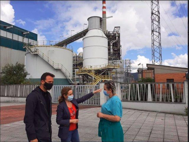 La diputada del PP de Asturias, Teresa Mallada, ante la térmica de Lada.