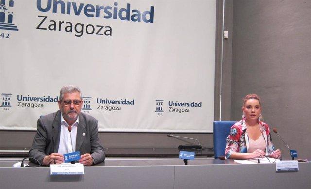 El rector de la UZ, José Antonio Mayoral, y la consejera de Ciencia, Universidad y Sociedad del Conocimiento del Gobierno de Aragón, Maru Díaz.