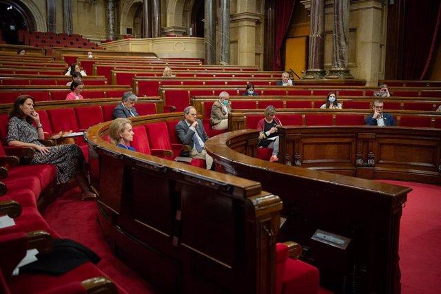 Diputados autonómicos en el Parlament de Catalynua durante la segunda plenaria en la que se debate la gestión de la crisis sanitaria del COVID-19 y la reconstrucción de Cataluña ante el impacto de la pandemia, en Barcelona, Catalunya (España), a 3 de juli