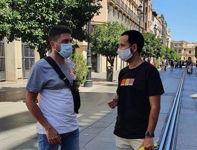 El diputado andaluz de Adelante, Ismael Sánchez, y el portavoz del Grupo Municipal de Adelante, Daniel González Rojas