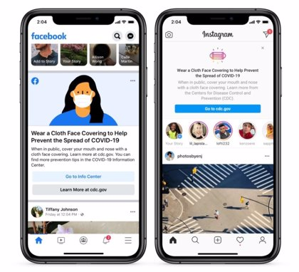 Facebook e Instagram recordarán a sus usuarios el uso de mascarillas