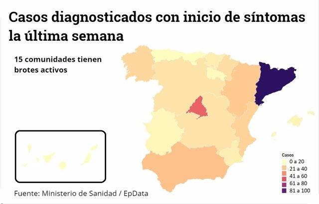 Mapa de los rebrotes en España a 3 de julio