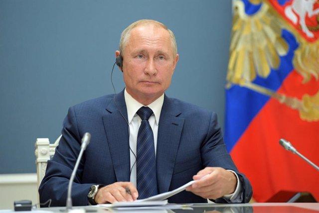 Vladimir Putin, en su despacho presidencial en Moscú