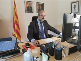 El conseller de Interior de la Generalitat, Miquel Buch, durante la presentación telemática de la campaña forestal 2020 en Girona.