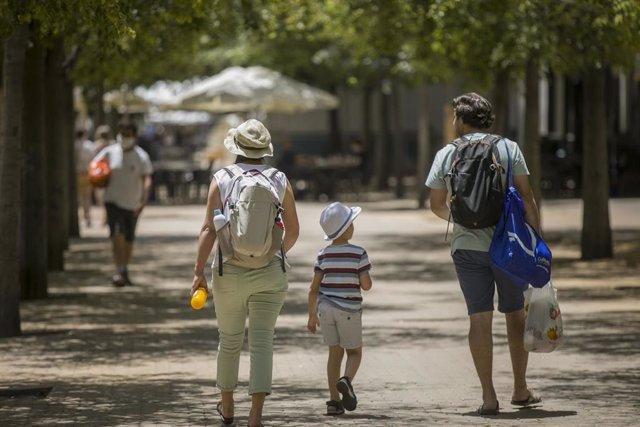 Alerta naranja por altas temperaturas. En Sevilla (Andalucía, España), a 23 de junio de 2020.