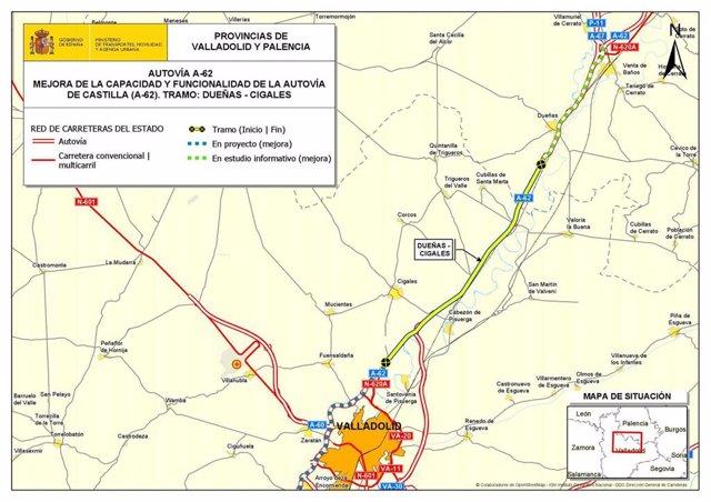 Proyecto de trazado para mejorar la capacidad de la A-62 entre Dueñas (Palencia) y Cigales (Valladolid).