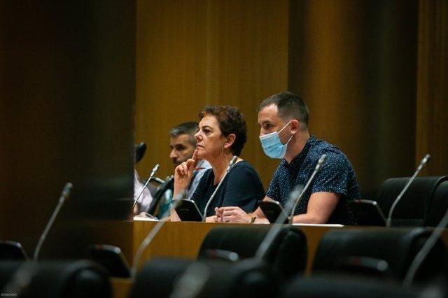 La portavoz de EH-Bildu, Mertxe Aizpurua, en la Comisión para la Reconstrucción