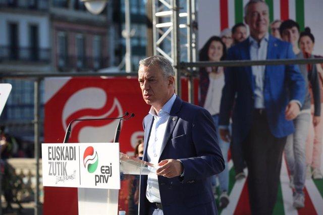 El Lehendakari, Iñigo Urkullu, en un acto electoral en Lekeitio (Bizkaia)