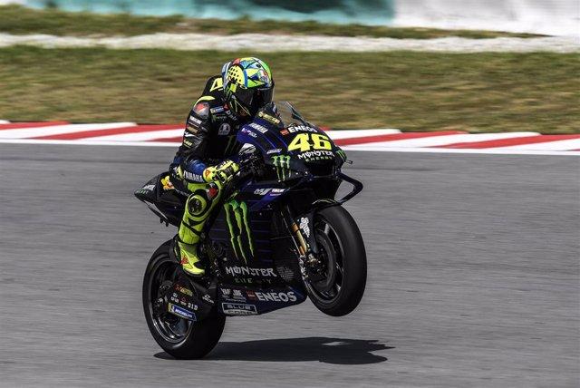 Valentino Rossi, en una sesión de entrenamientos