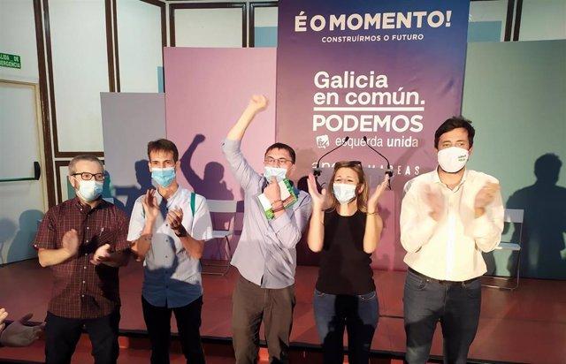 Mitin de Galicia en Común en las elecciones autonómicas del 12J en Ourense con Antón Gómez-Reino, Yolanda Díaz y Juan Carlos Monedero