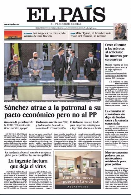 Las portadas de los periódicos del sábado 4 de julio de 2020