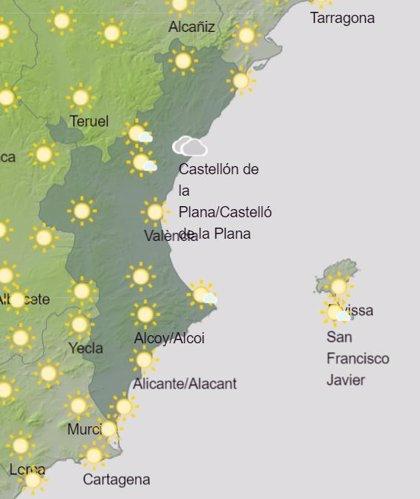 La Comunitat Valenciana tendrá cielos despejados, aunque alguna nube puede dejar chubascos débiles en Castellón