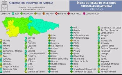 El suroccidente asturiano presentará este sábado riesgo 'alto' de sufrir incendios forestales