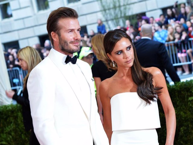 """David Beckham and Victoria Beckham attend the """"Charles James: Beyond Fashion"""" Costume Institute Gala at the Metropolitan Museum of Art on May 5, 2014 in New York City."""