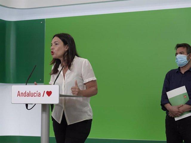 La eurodiputada socialista Lina Gálvez, en rueda de prensa junto al delegado de Transición Ecológica y Cambio Climático del PSOE-A, Joaquín Dobladez.