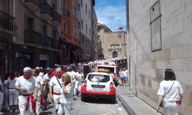 Dispositivo de Cruz Roja en los Sanfermines de 2019 en la Cuesta de Santo Domingo