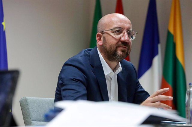 HANDOUT - 26 June 2020, Belgium, Brussels: European Council President Charles Michel speaks during a virtual meeting with Lithuanian President Gitanas Nauseda (not pictured). Photo: Dario Pignatelli/European Council /dpa - ATTENTION: editorial use only an