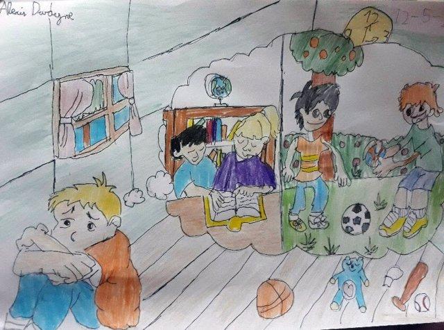 Dibujo de un niño enviado al Ayuntamiento de Barcelona durante la pandemia del coronavirus a través de la plataforma Estimat Diari.