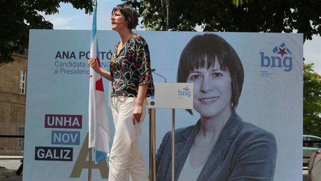 La candidata del BNG a la Xunta, Ana Pontón, durante un mitin