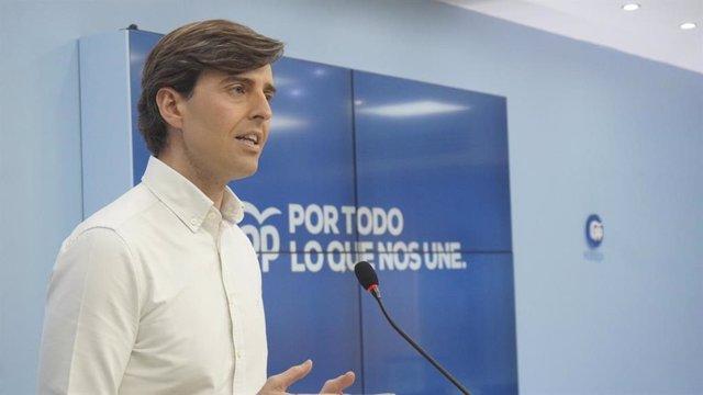 El vicesecretario de Comunicación del PP, Pablo Montesinos, en rueda de prensa.