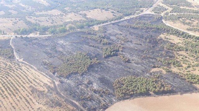 Zona afectada por el incendio de Belalcázar