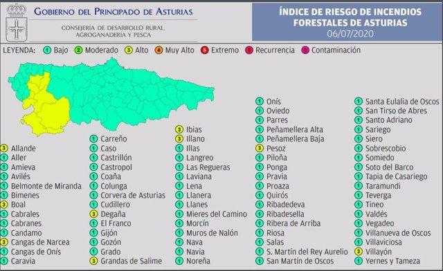 Mapa de riesgos por incendio forestal.