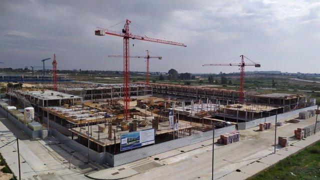 Obras de construcción de una promoción de nuevas viviendas de Habitat Inmobiliaria