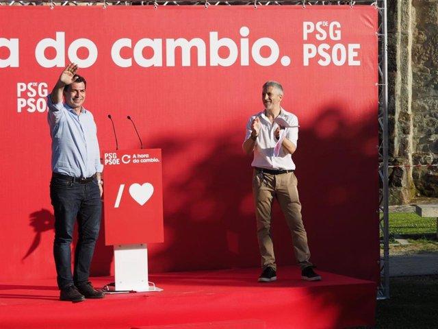 El candidato del PSdeG a la Presidencia de la Xunta, Gonzalo Caballero, y el ministro del Interior, Fernando Grande Marlaska, en O Carballiño (Ourense)