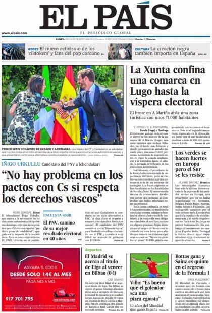 Las portadas de los periódicos del lunes 6 de julio de 2020
