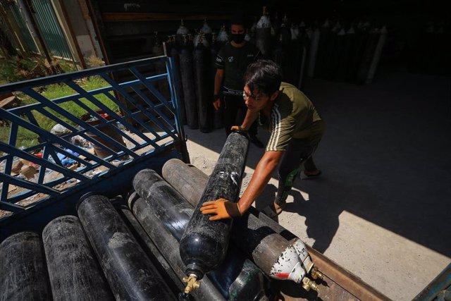 Fábrica de respiradores en Irak