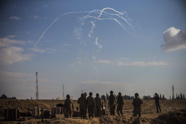 Coets que les milicies palestines disparen cap a Israel