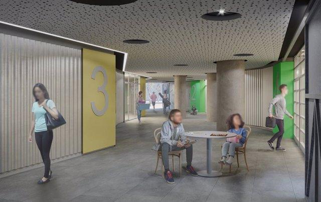 Projecte de l'Ajuntament de Barcelona per a la renovació del passadís que connecta Mare de Déu de Lorda amb via de Bàrcino, a Trinitat Vella