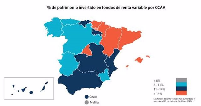 Patrimonio en fondos de inversión por comunidades autónomas