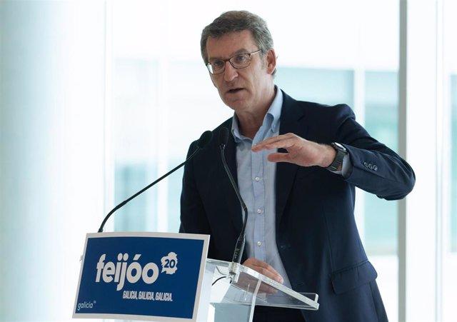 Feijoo participa en un acto electoral en esta campaña.