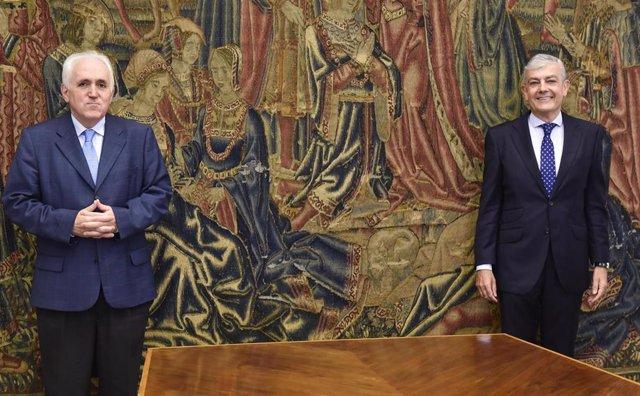El rector de la Universidad de Deusto José María Guibert y el director Territorial Norte de BBVA, Carlos Gorría