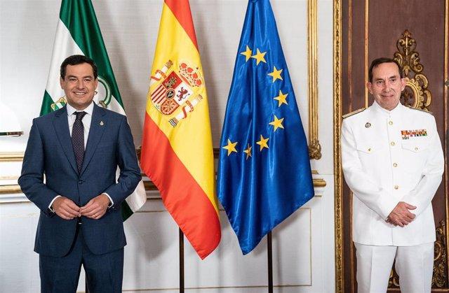 El presidente de la Junta de Andalucía, Juanma Moreno, ha recibido este lunes al nuevo almirante de la Flota Naval de la Armada Española, Antonio Martorell Lacave, en el Palacio de San Telmo