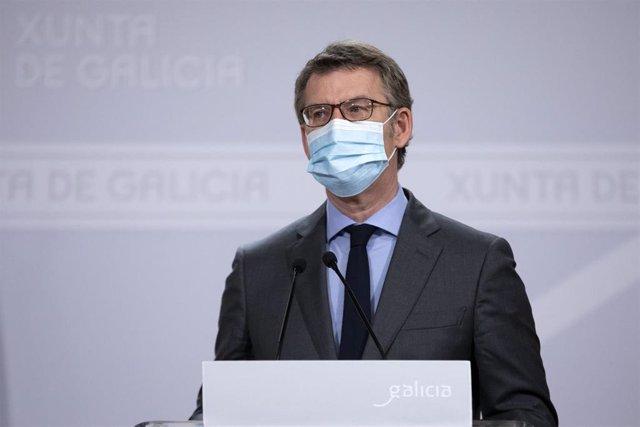El presidente de la Xunta, Alberto Núñez Feijóo, en una rueda de prensa.