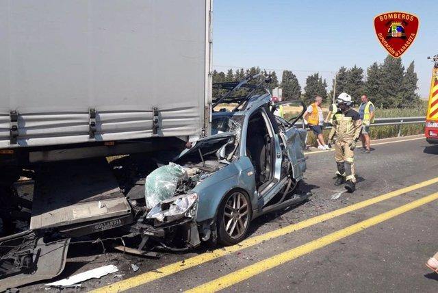 Accidente de tráfico en la N-232.