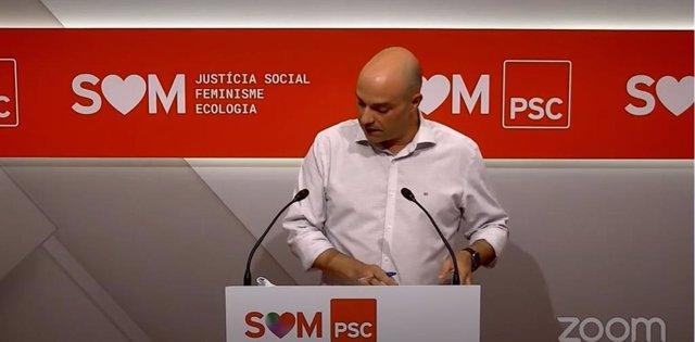El diputat del PSC Raúl Moreno en roda de premsa telemàtica aquest 6 de juliol