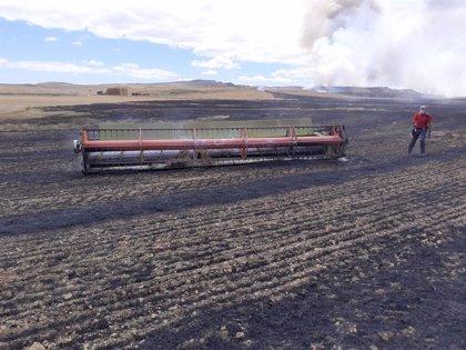 Un incendio ya controlado quema unas 200 hectáreas de rastrojo y cereal en Lerín, Miranda de Arga y Falces
