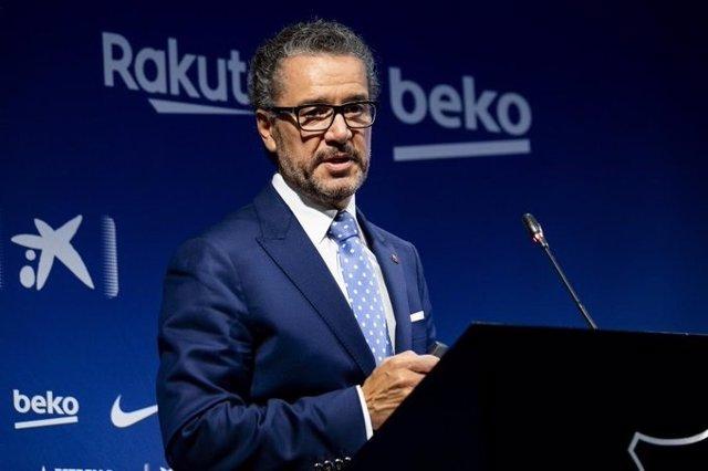 El portavoz de la Junta Directiva del FC Barcelona, Josep Vives, en rueda de prensa