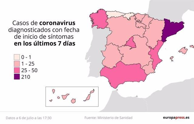 Mapa de casos de coronavirus detectados en los últimos 7 días en España a 6 de julio