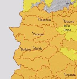 Alerta naranja en Extremadura para el 7 de julio