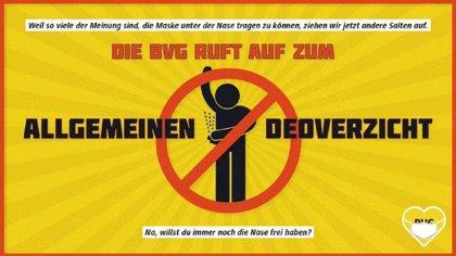 La iniciativa del metro de Berlín para fomentar el uso de mascarillas de forma correcta es prohibir el desodorante