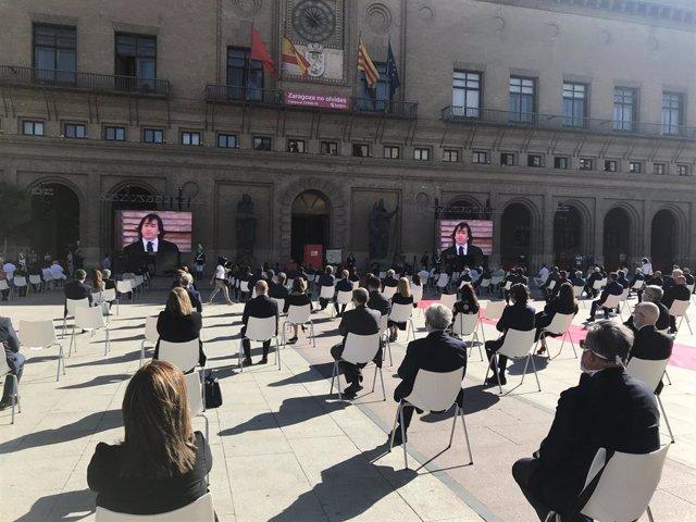 Homenaje en Zaragoza a las víctimas de la COVID-19.