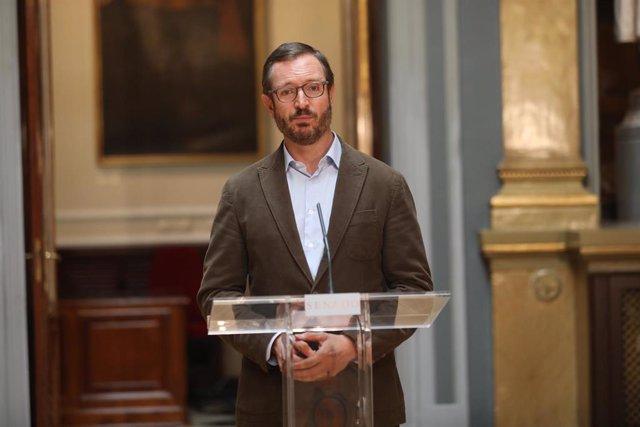 El portavoz de Grupo Parlamentario Popular en el Senado, Javier Maroto, ofrece una rueda de prensa posterior a la Junta de Portavoces del Senado, en Madrid (España), a 7 de julio de 2020.